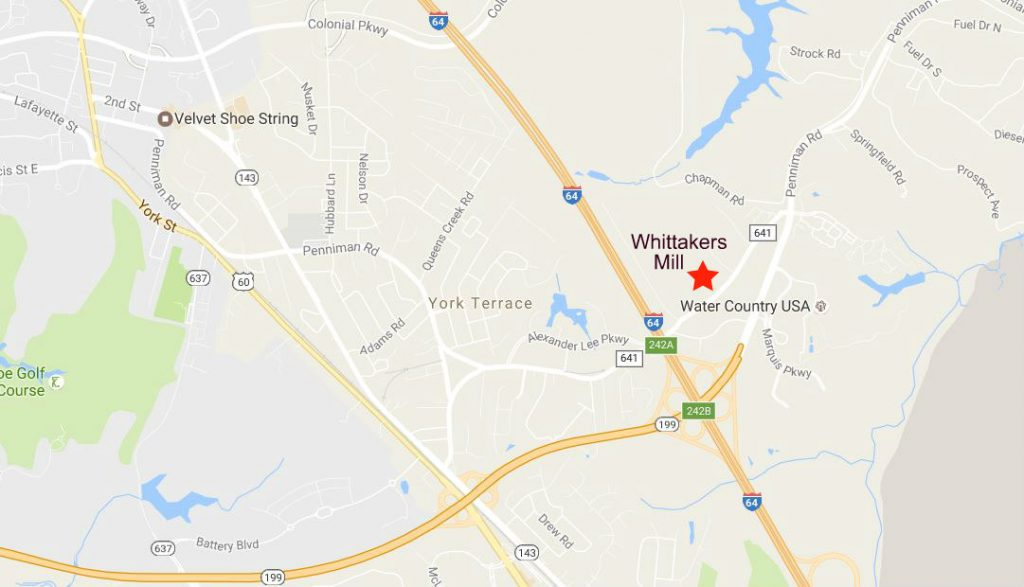map-whittakers-mill-williamsburg-va