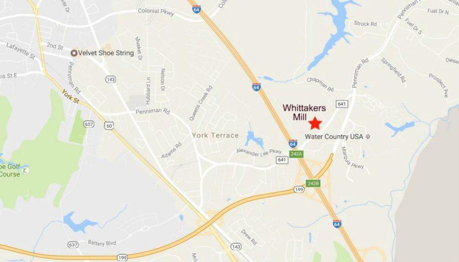 map-whittakers-mill-williamsburg-va