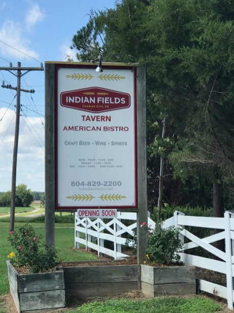 indian fields tavern sign
