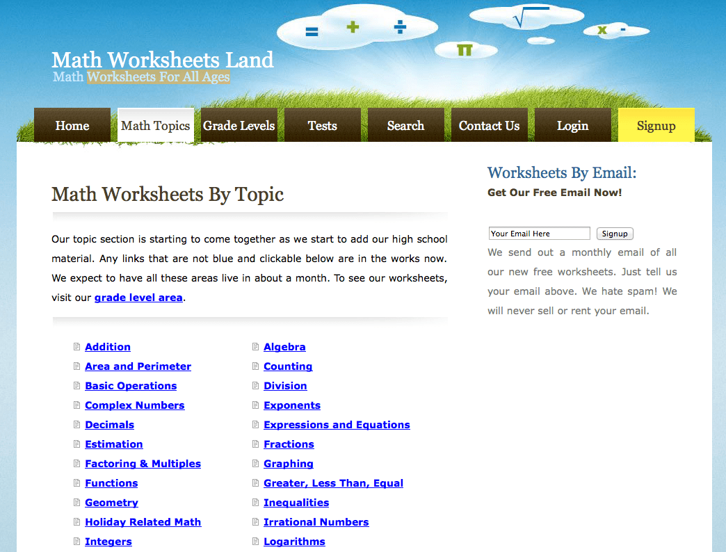 Free Mathematics Worksheets Sorted By Topic