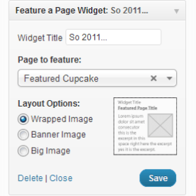 Feature a Page Widget Options