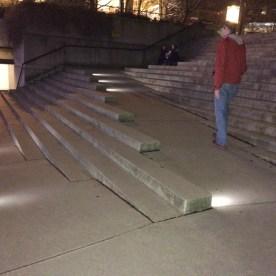 Mark walks up ramp