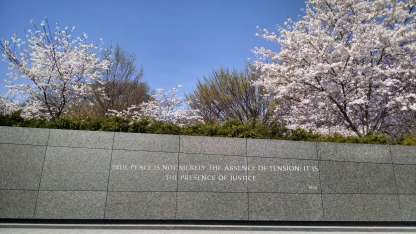 "Engraved: ""True peace is not merely the absence of tension,; it is the presence of justice."""