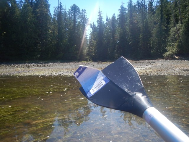 After taking a break on the beach that the Black Bear was on, I attempted to push off using my paddle and it snapped. I'm glad I had a spare paddle this time and I'm glad I'm in the market for a new paddle anyways.