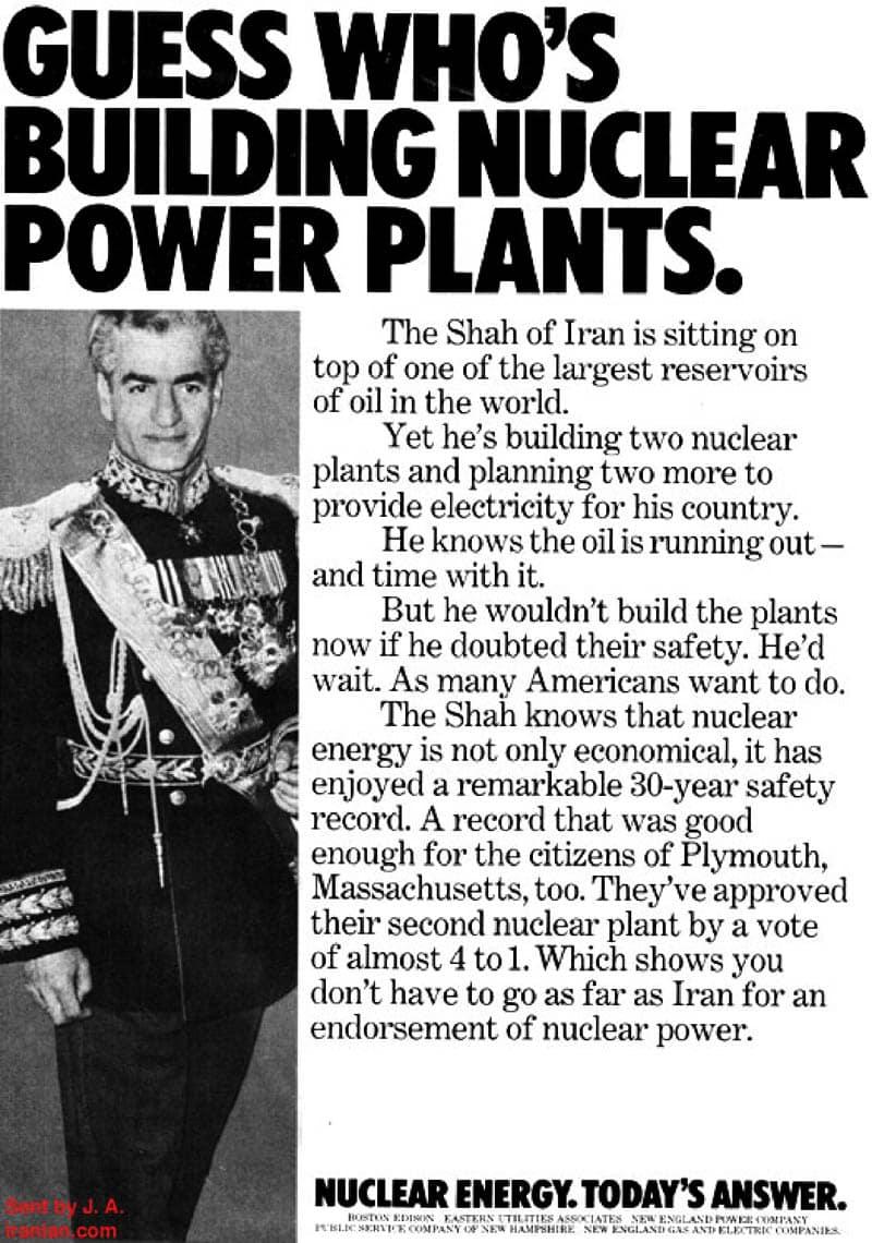 Shah of Iran nuclear propaganda