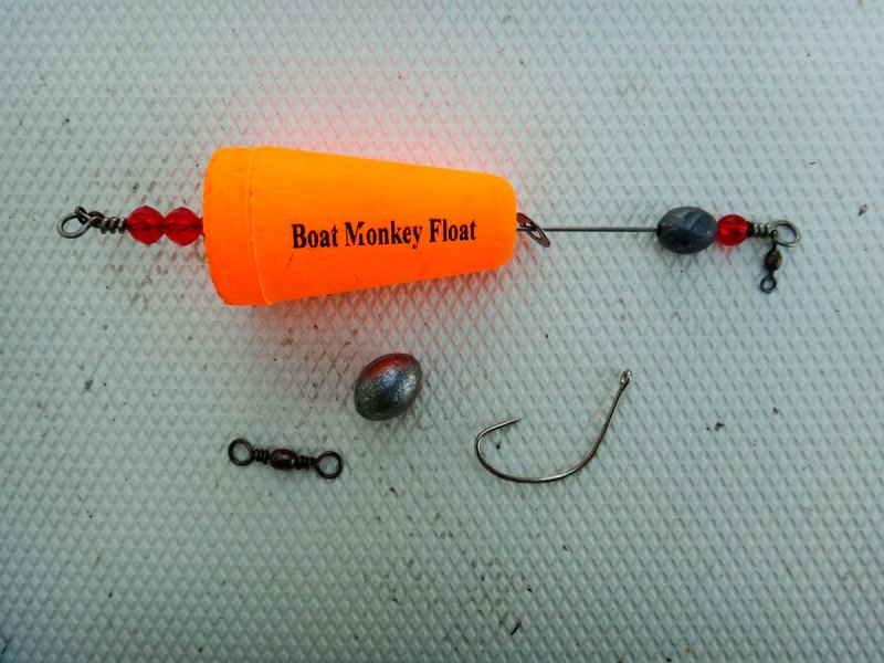 Boat Monkey corks, an egg sinker, barrel swivel and a Kahle hook are all you need to start catching trout on croakers.