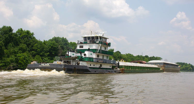 Passing barge traffic on the Tenn-Tom Waterway can create fishing opportunities due to the resulting current.