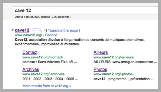 Google sitelinks in search results for Cave12.org