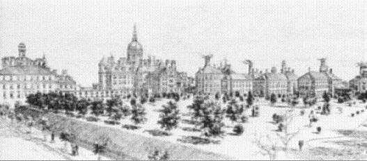 Baltimore - Johns Hopkins Hospital. From Harper's Weekly September 8, 1888. Images from the History of Medicine Collection. National Library of Medicine, History of Medicine Division