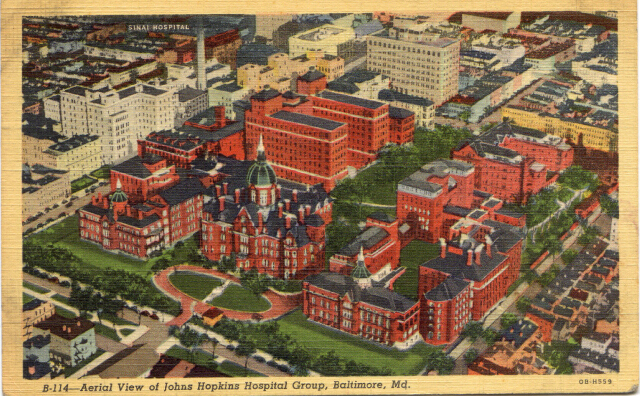 Aerial View of Johns Hopkins Hospital Group, Baltimore, Md. Private collection.