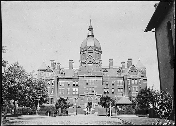 (A and B) - Johns Hopkins Hospital ca.1890 (Z24.1605). Photograph Collections Cross-Section. Maryland Historical Society