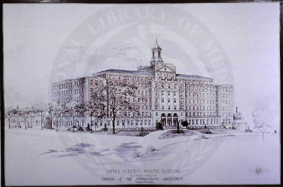 U.S. Marine Hospital, Architect's Drawing. Images from the History of Medicine Collection, Order No. A026883. National Library of Medicine, History of Medicine Division