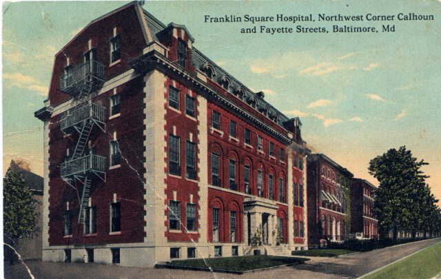 Franklin Square Hospital, Northwest Corner Calhoun and Fayette Streets, Baltimore, Md.. Private collection.