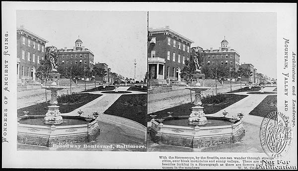 Broadway Boulevard, with Church Home Hospital in background. Stereoview Collection, PP1. Maryland Historical Society