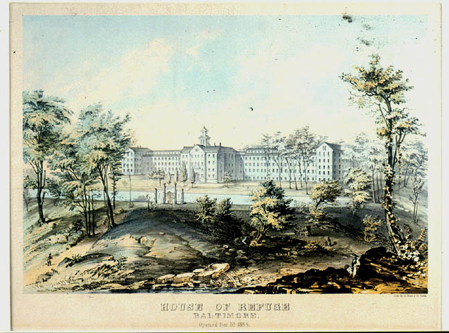 House of Refuge, Baltimore, Opened December 5, 1855. Artist: Unknown Other Contributor: A. Hoen & Co. Pict 16.15 x 11.11 1933 Notes : Lithograph by Hoen, 1855. This building, a home for unruly boys, stood on the hill west of Gwynns Falls near Frederick Avenue. At the laying of the cornerstone, October 27, 1851, Chief Justice Taney and Governor Lowe of Maryland were speakers. George W. Brown, afterward Mayor, was president of the board. Cator Collection, Print 120. Enoch Pratt Free Library