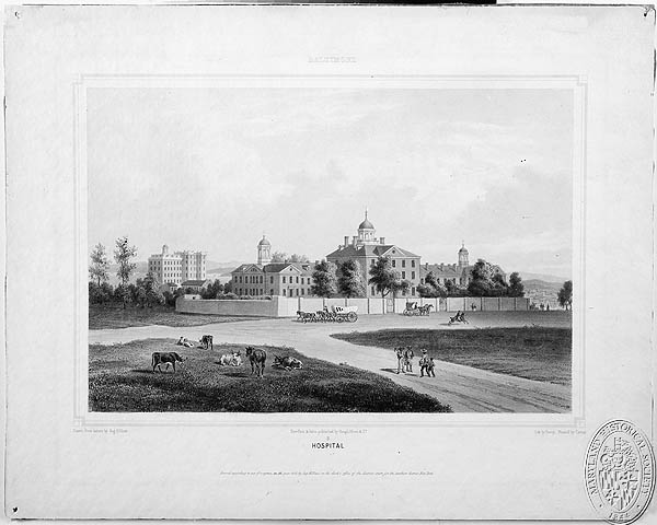 CB5581 (16x20.5) Baltimore - Hospital. Lithograph by DeRoy; Painted by Cuttier; Drawn From Nature By, Augustus Köllner (Z24.2061). Photograph Collections Cross-Section. Maryland Historical Society