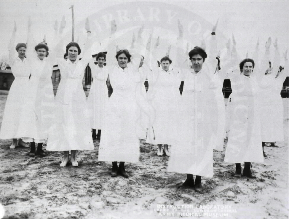 U.S. Army Base Hospital, Camp Meade, Maryland. : Nurses exercising. A08883. Images from the History of Medicine Collection. National Library of Medicine