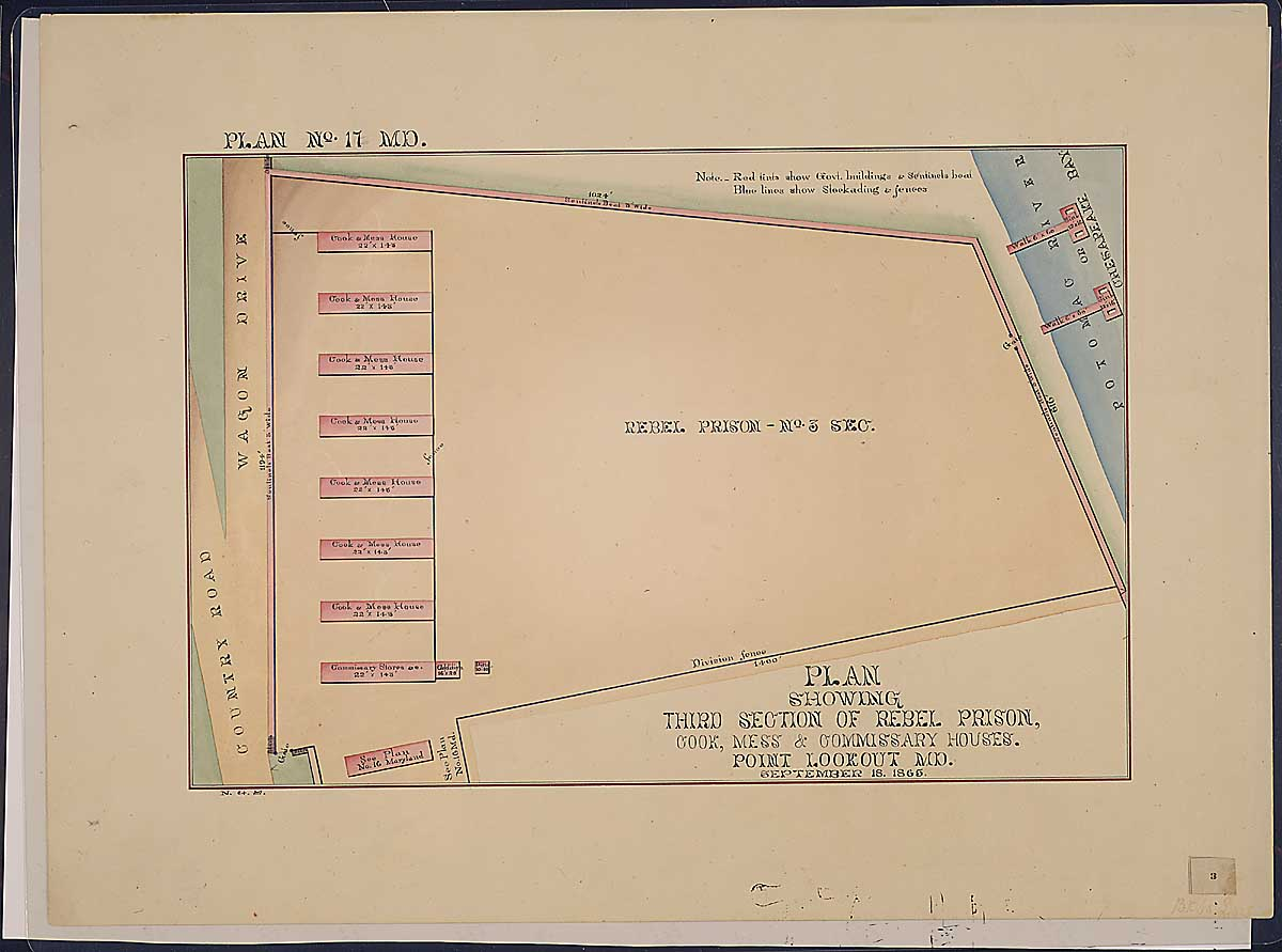 Plan showing Third Section of Rebel Prison, Cook, Mess & Commissary Houses. Point Lookout, MD. RG 92: Records of the Office of the Quartermaster General, 1774-1985, ARC Identifier 305824 / Local Indentifer 92-PR-MAP57. National Archives, Washington, DC