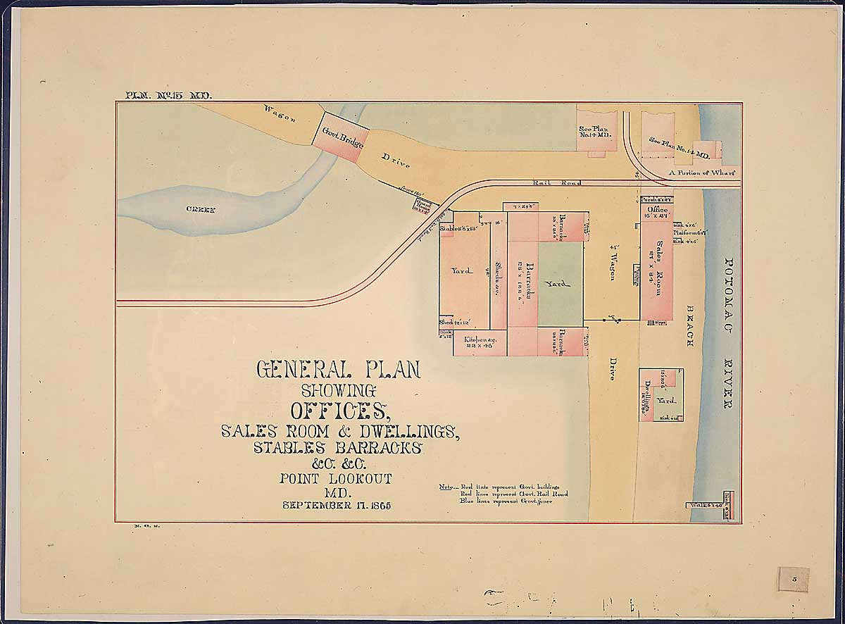 General Plan showing Offices, Sales Room & Dwellings, Stables Barracks & c. $ c. Point Lookout, MD. RG 92: Records of the Office of the Quartermaster General, 1774-1985, ARC Identifier 305824 / Local Indentifer 92-PR-MAP57. National Archives, Washington, DC
