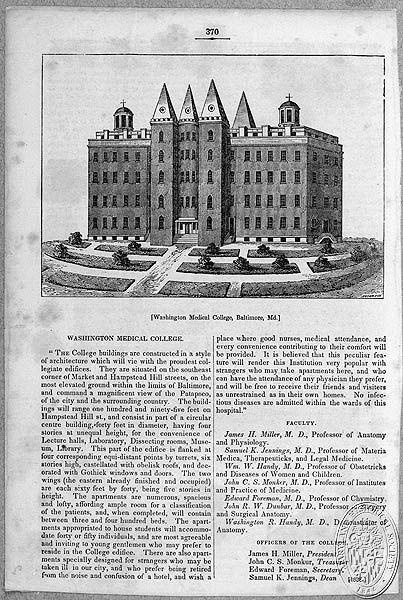 Washington Medical College, Baltimore, Maryland BCLM MB3089 (Z24.2063). Maryland Historical Society