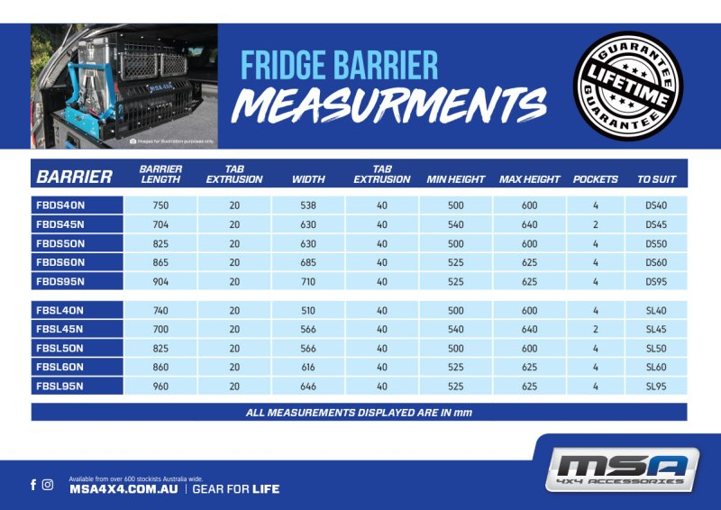 Fridge Barrier Measurments MSA 4X4 Accessories 2019
