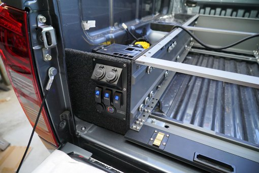 Power Panel by MSA 4X4 Accessories. Installed in Explorer Drawer System