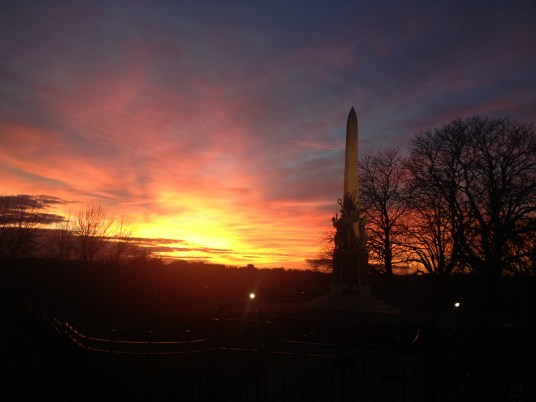 Walking home from Bromley this afternoon, here is the sunset over the War Memorial