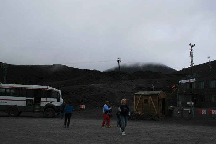 Arrival at the bus park near the top of Etna.