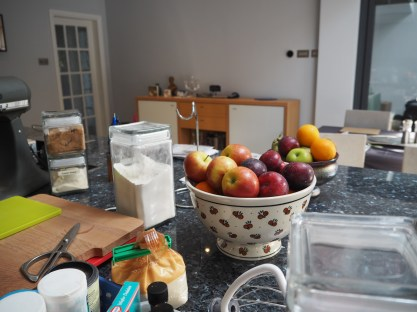 I have so much fruit, I'll make a plum and pear crumble.