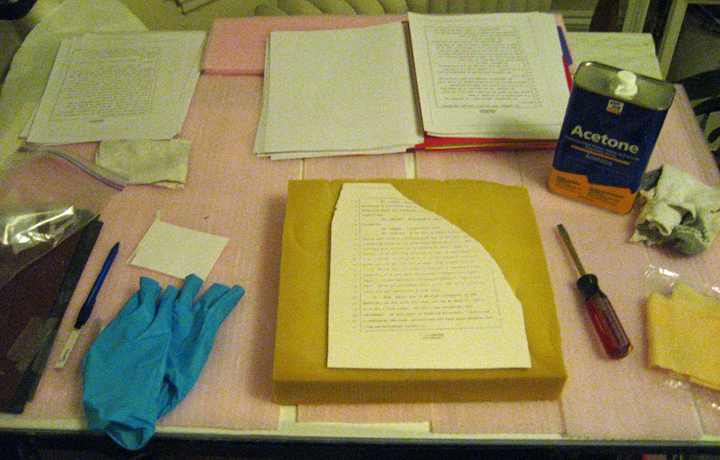 padding, tile, documents (printed backwards on a photocopier), acetone, cotton rag (old socks), nitrile gloves, tacky cloth