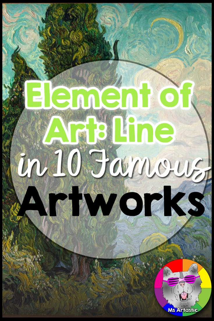 The Element of Art: Line is a fun element to work with as most art begins with line and line can take on many shapes or forms or expressions. Line works with the other elements: shape, color, form, texture. Line can help create shape or texture. For this reason, it is is a lovely Element of Art to start with in teaching in your art classroom.