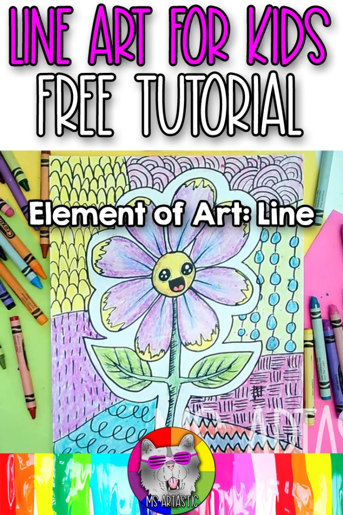 Explore the Element of Art: Line with your favorite art mediums, such as felt markers and crayons, with this Flower Line Art Project Drawing Tutorial for kids. This is an easy to-do, hands on activity that kids can do at home or in the classroom to help them learn and understand the element of art: line. Perfect for elementary students! Let's make art!
