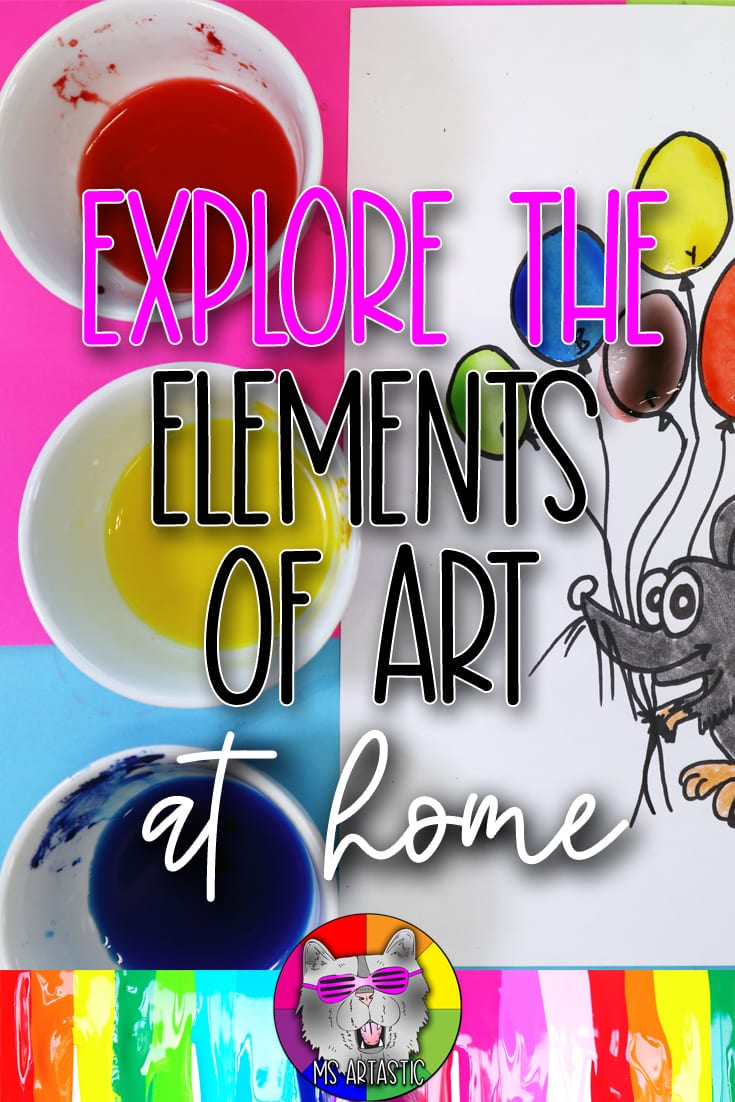 Explore creating art focused on the Elements of Art in an At Home Learning setting, perfect for Homeschooling or Distance Learning. This blog post has art projects and lessons for experimenting with Line, Value, Mixing Colors, and Texture with unexpected art mediums you already have in your home (that you just didn't realize you have).