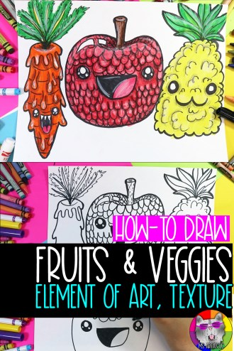 Explore creating art focused on the Elements of Art: Texture that features drawing Fruits and Veggies, perfect for Homeschooling or Distance Learning. This is a free, easy to do, quick art lesson that focuses on teaching the Element of Art Texture to kids. This is an easy to implement idea for kids to do as an art project at home or in the classroom. Perfect for kids from grades 2 to 7!