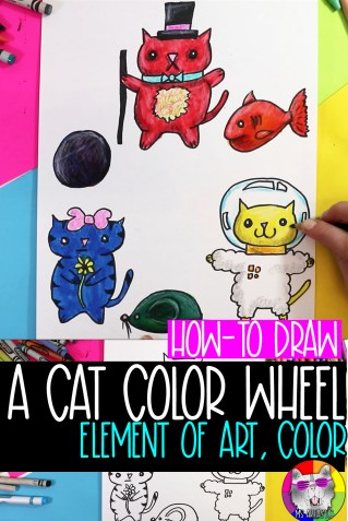 Explore creating art focused on the Elements of Art: Color that features drawing cats in a color wheel, perfect for Homeschooling or Distance Learning. This is a free, easy to do, quick art lesson that focuses on teaching the Element of Art Color to kids. This is an easy to implement idea for kids to do as an art project at home or in the classroom. Perfect for kids from grades 2 to 7! Scroll through to follow the step-by-step, or scroll to the bottom to find the full YouTube Video tutorial embedded in this post!