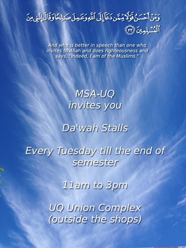 Dawah Stall Tuesdays 11am to 3pm