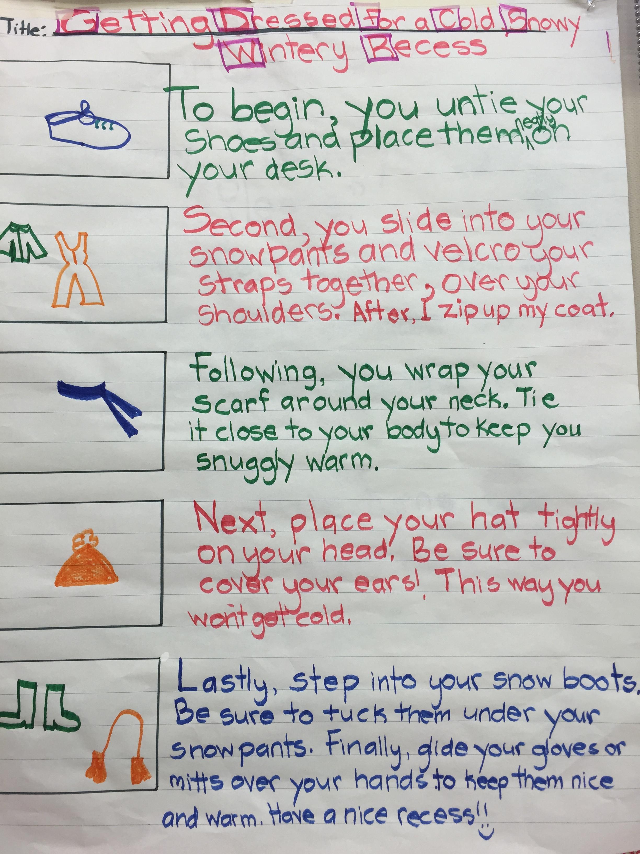 Procedural Writing Examples Grade 1