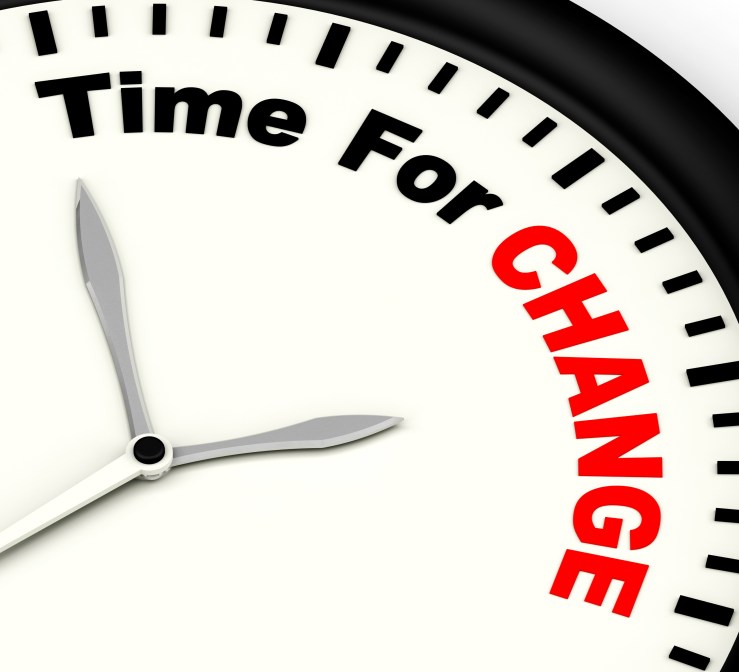 Changes. Life's FULL of 'em! Clock with face that says time for change.