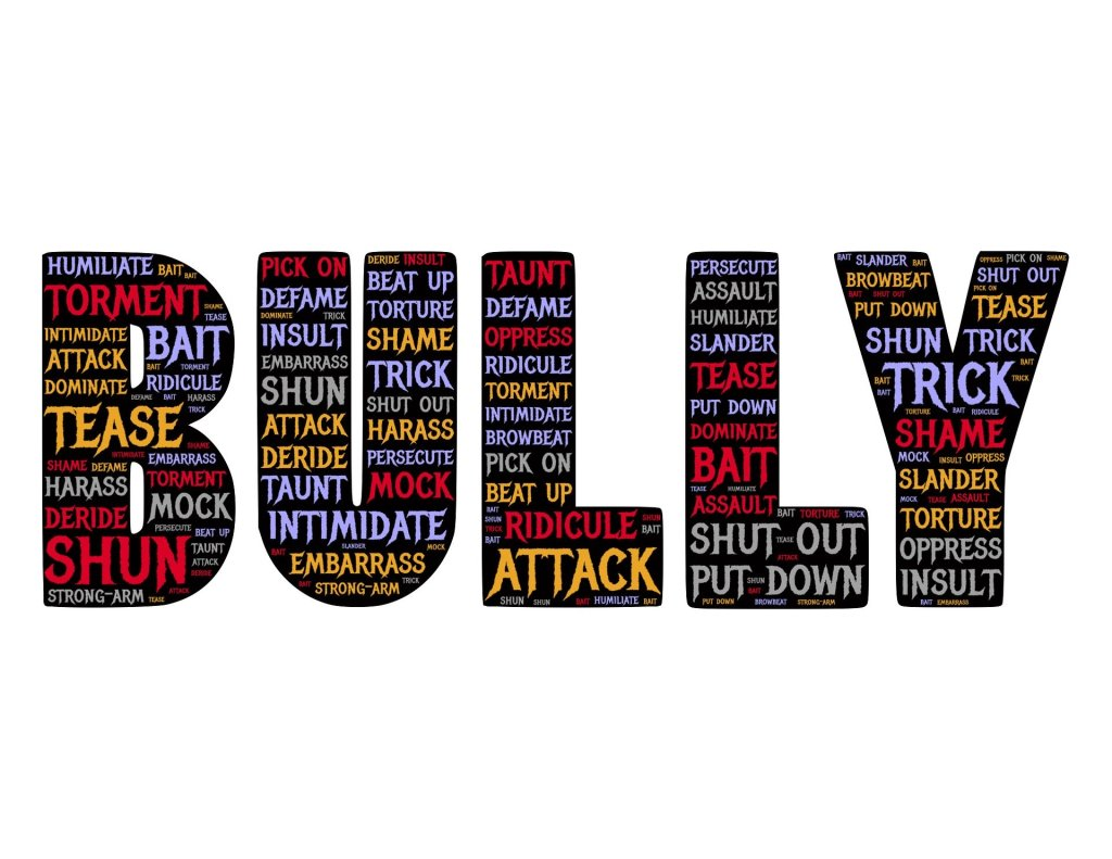 Bully with terms and words pertaining to bullying