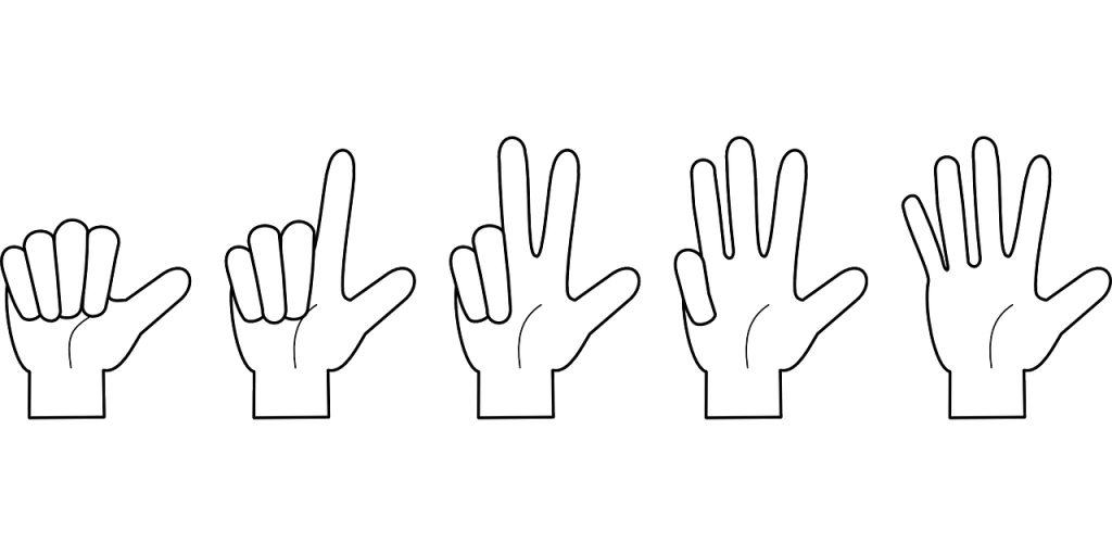 5 hands counting down from 5  to 1 with fingers