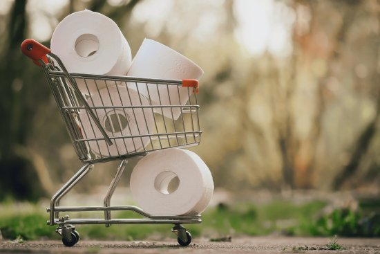 toilet paper in shopping cart