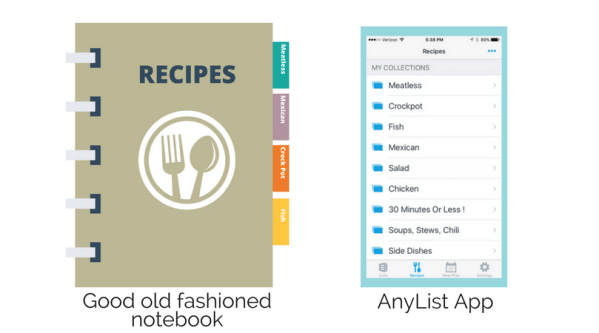 Recipe book and list app illustration