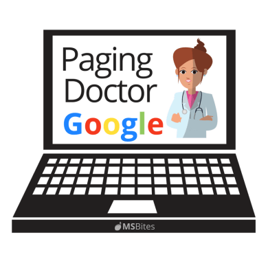 "Laptop computer illustration with ""Paging Doctor Google"" graphic on screen"
