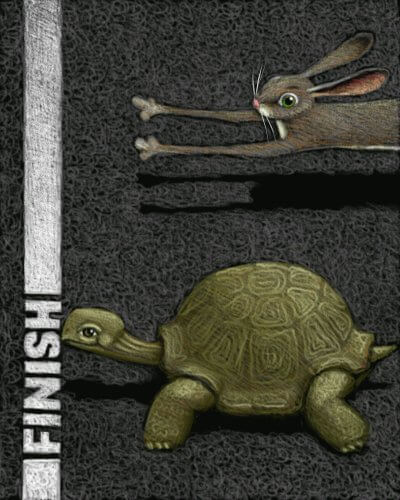 Slow and Steady wins the race illustration of a tortoise nearing the finish line and a hare coming in second to represent an ideal mindset to lose weight