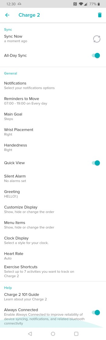Fitbit App, Options, Screen, Charge 2
