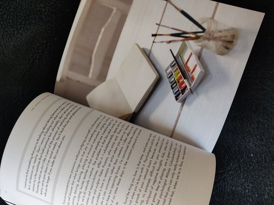 Inside Dr Rangan Chatterjee's The Stress Solution Book. Photo of Paint supplies and text.