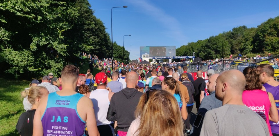 The thousands of people heading to the start line of the Great North Run 2019.