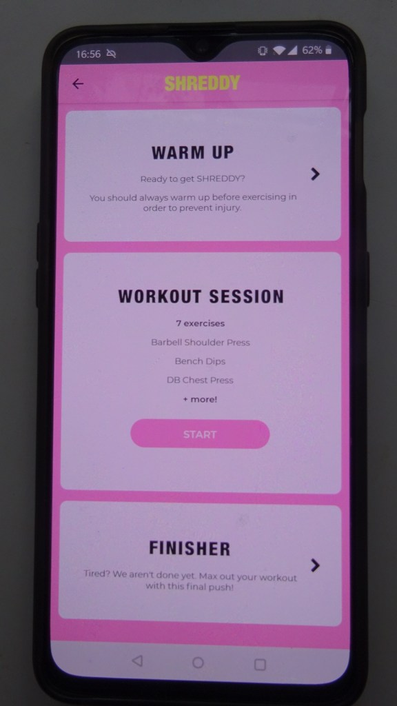 Showing the Warm Up, Workout and Finisher for the SHREDDY app review