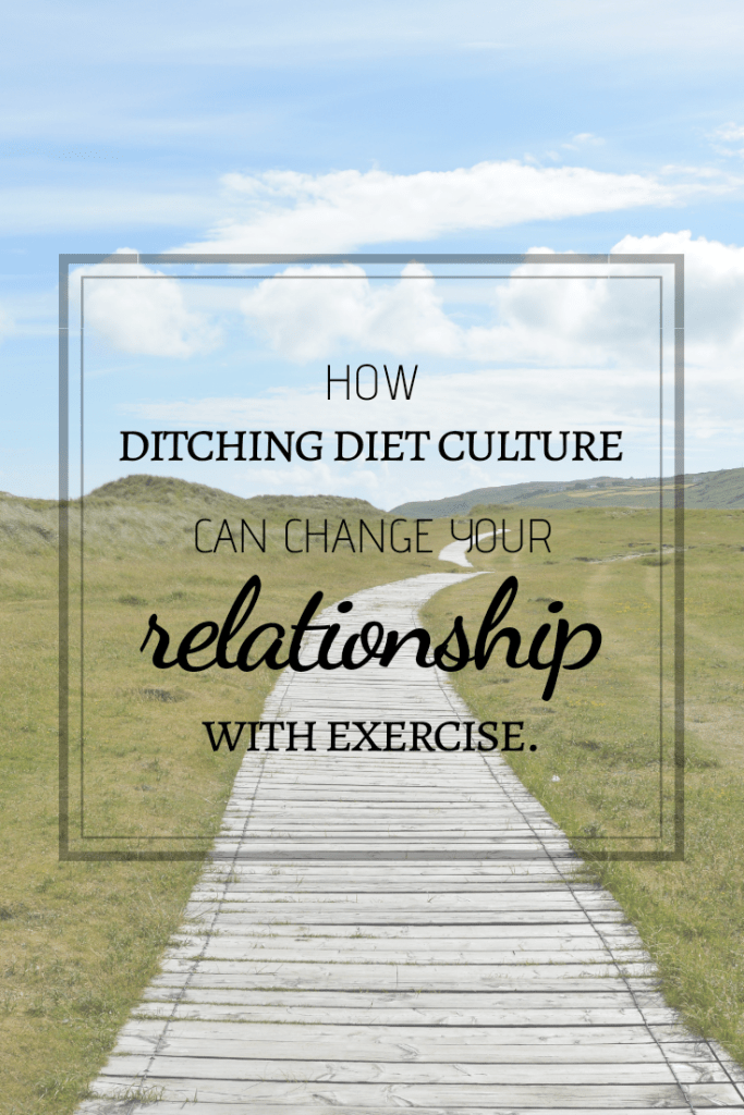 Countryside background with the caption, 'How ditching diet culture can change your relationship with exercise'.