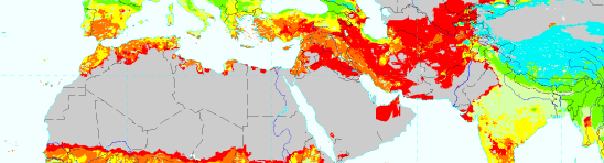 world map showing desertification vulnerability